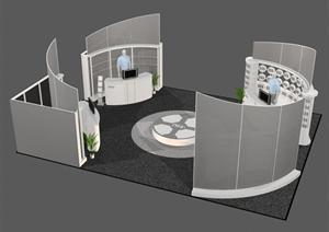 某展覽會館展臺設計效果圖3DMAX模型素材