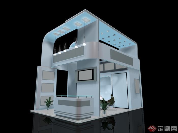 某展览会馆展台设计max模型素材3