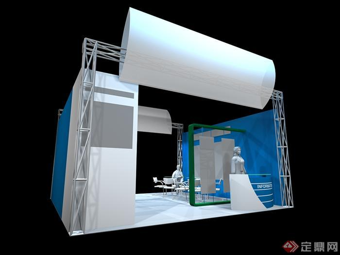 某展览会馆展台设计3d模型素材(5)
