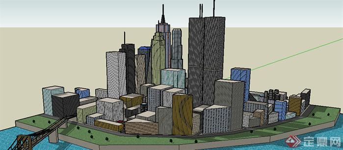 某现代商业综合体建筑设计方案su 模型效果图(2)