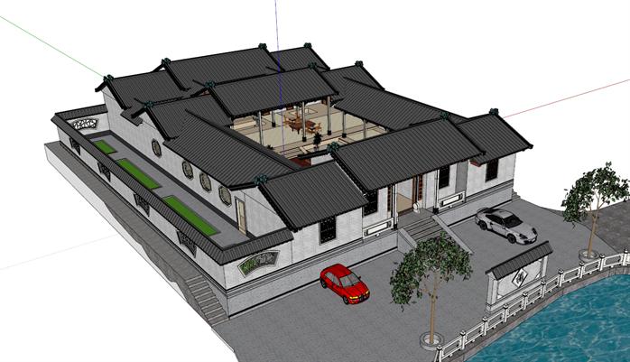 某中式风格四合院别墅建筑方案设计su模型[原创]