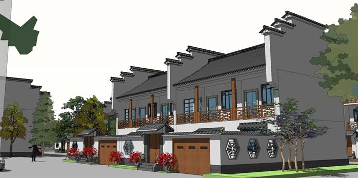 某古典中式风格别墅区建筑方案规划设计su模型