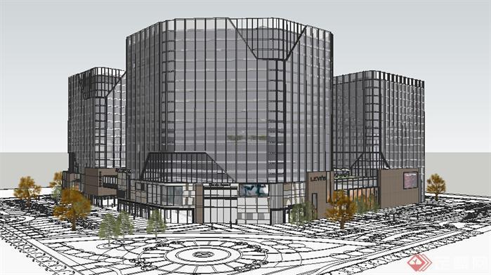 某现代商业建筑设计方案效果图(2)