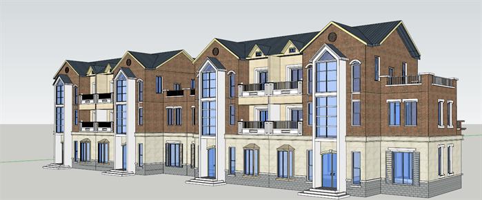 某个英式风格联排别墅建筑方案设计su模型[原创]