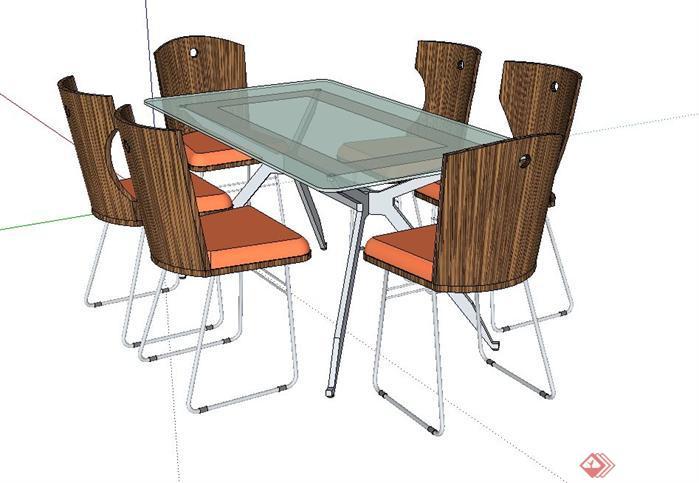 一套餐厅餐桌椅SU模型素材