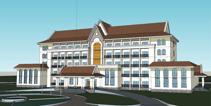 某地中海风格办公楼建筑设计SU模型图片