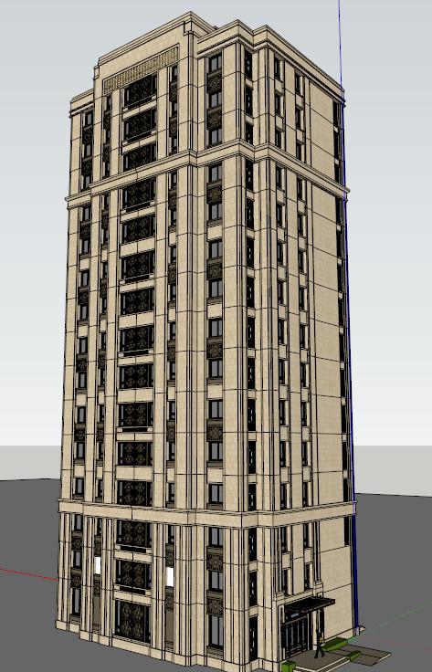 某欧式风格公寓楼建筑方案设计su模型[原创]