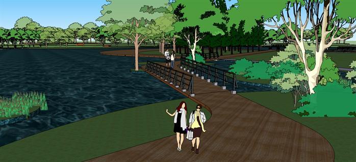 某现代风格湿地公园景观规划设计su模型[原创]