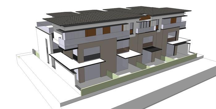 某现代风格别墅建筑方案设计su模型(附cad和效果图)