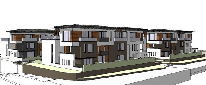 某现代风格沿街别墅建筑方案设计su模型