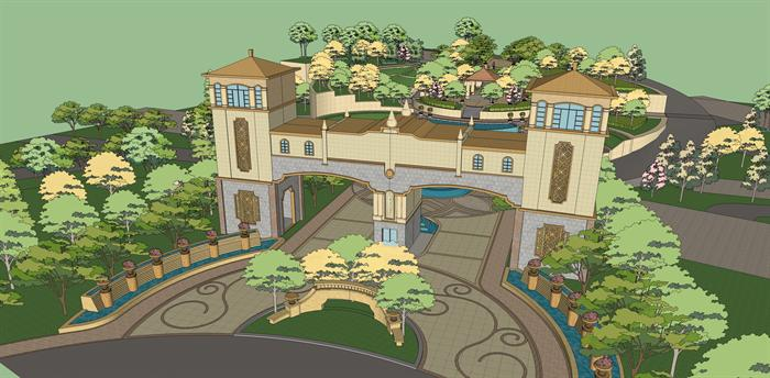 某欧式风格小区入口景观规划设计su模型[原创]
