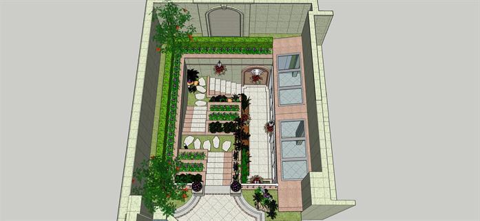 某欧式风格下沉式花园庭院景观设计su模型[原创]