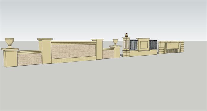 某欧式风格景墙栏杆方案设计su模型图片