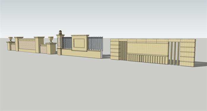 某欧式风格景墙栏杆方案设计su模型[原创]