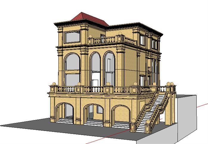 该建筑设计风格,样式独特,表现出了欧式建筑特有的美感,模型制作精致