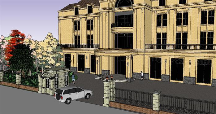 一套欧式风格办公楼建筑su设计模型[原创]