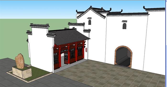 某古典中式书院入口建筑设计方案(2)