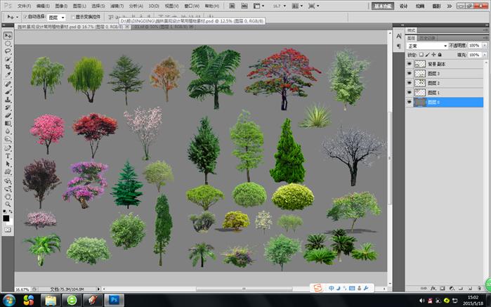 设计素材之景观植物立面图(