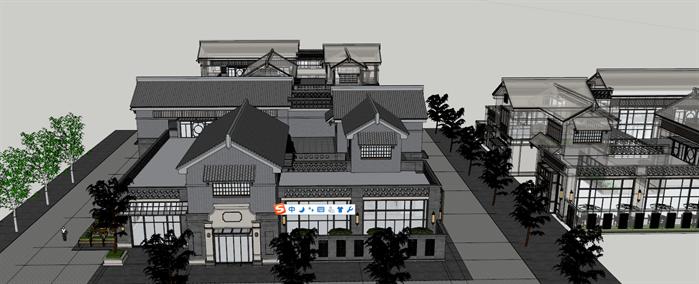 某现代中式风格商业会所建筑方案设计su模型[原创]