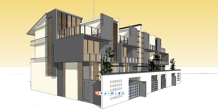 某苏式风格双拼别墅建筑方案设计su模型
