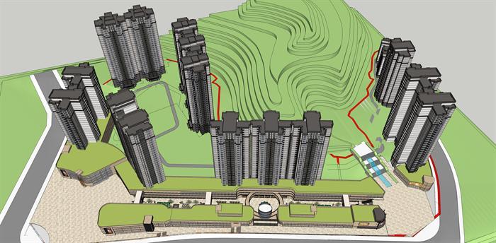 义某新中式商业广场及住宅楼建筑设计方案su模型 含效果图