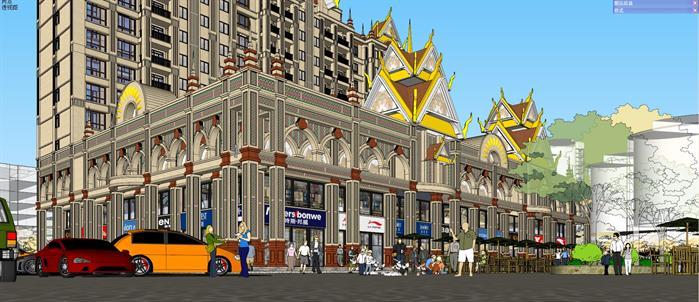 某东南亚风格商业街建筑方案设计SU模型