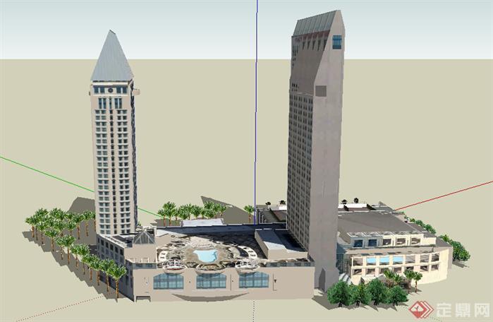 某现代商业综合体建筑设计方案 su 模型(2)