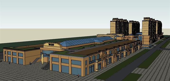 瑞成某简欧式商业街建筑设计方案su模型(含效果图)
