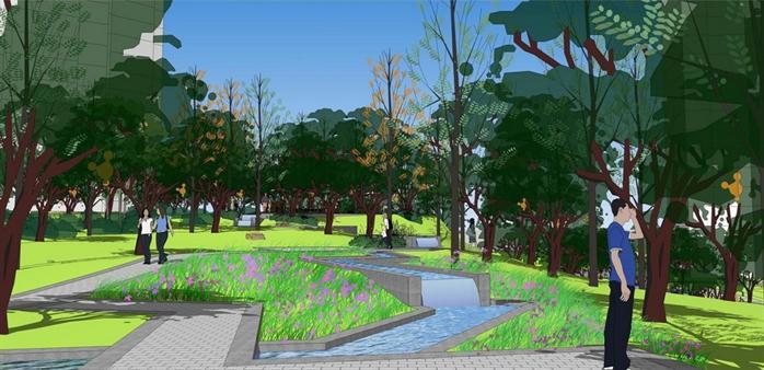 某现代小区主入口景观设计方案su 模型(2)
