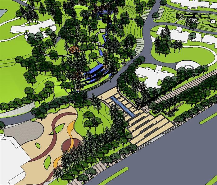 某现代小区主入口景观设计方案su 模型(6)