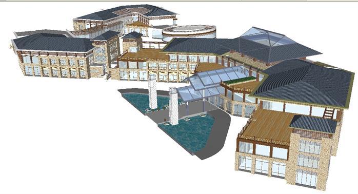 新中式别墅,联体公寓,酒店建筑设计方案su模型(2)