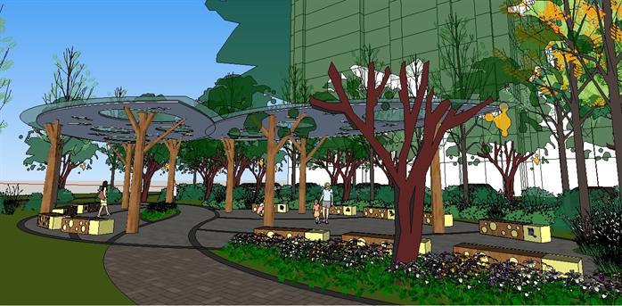 某个现代风格居住小区景观规划设计su模型[原创]