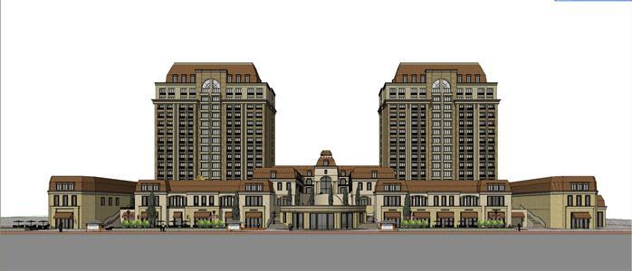 某欧式商业及公寓建筑设计方案su模型(3)