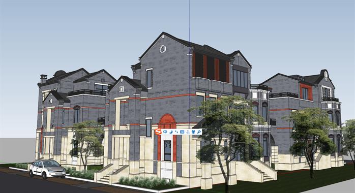 某古典中式别墅建筑方案设计SU模型,该模型设计的还是比较细致的,模型场景还是比较大的,方案设计的还是比较细致的,内容也比较丰富,供广大景观设计,建筑方案设计人员。园林设计人员参考用途.也可以用于同类设计规划项目参考用途。