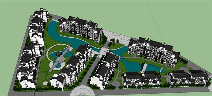 某中式多层小区建筑设计规划方案su模型