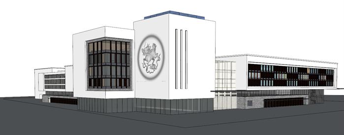 某现代风格社区服务中心建筑su设计模型[原创]