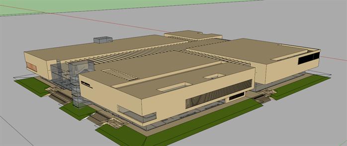 某现代会议中心建筑设计方案su模型,该模型设计精细,风格是现代风格,细节处理较好,材质利用得当,是比较好的会议中式建筑模型设计方案。