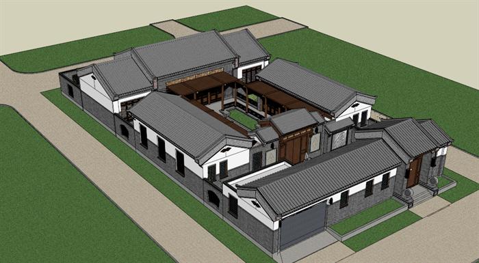某古典中式四合院建筑方案设计SU模型