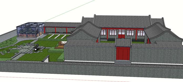 某现代风格别墅四合院建筑方案设计su模型