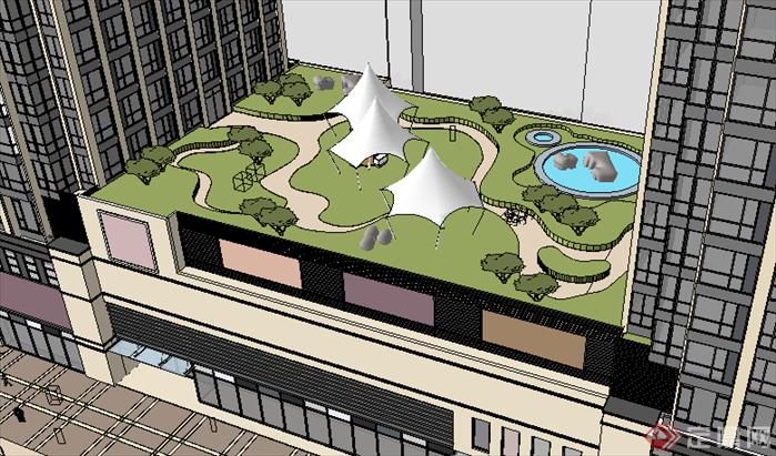 某现代风格商业建筑方案屋顶花园方案设计su模型