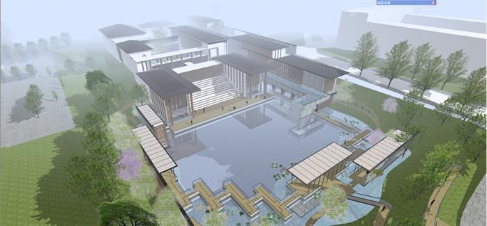 某新中式风格木结构商业会所建筑方案设计su模型(含)