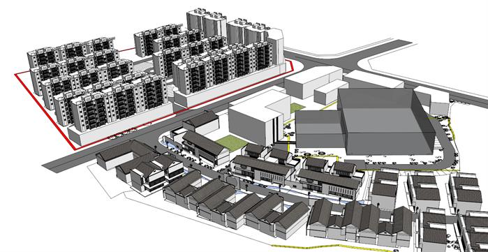 某 新中式住宅楼及商业街建筑设计方案su模型(1)