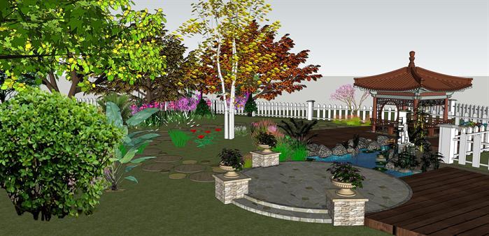 某现代风格庭院花园景亭景观方案设计su模型[原创]