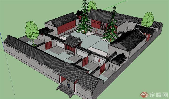 某新中式四合院建筑设计方案su模型[原创]