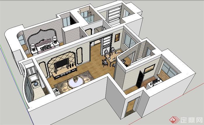 某欧式住宅室内装饰设计方案su模型[原创]