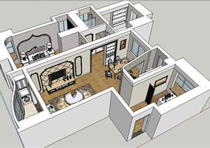 某欧式住宅室内装饰设计方案su(草图大师)模型图片