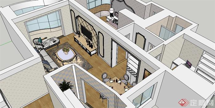 某欧式住宅室内装饰设计方案su模型[原创]图片