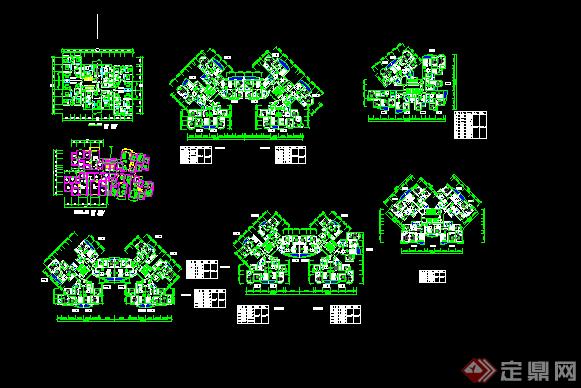 某现代风格高层住宅楼户型图方案设计CAD图纸