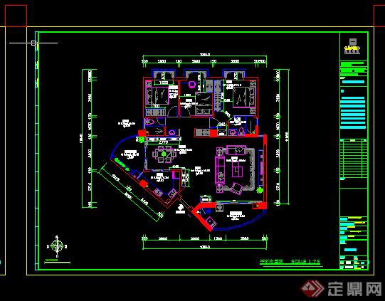 某現代風格居住樓戶型方案設計cad圖紙 3