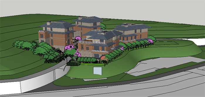 某现代中式山地别墅建筑设计方案su模型(1)